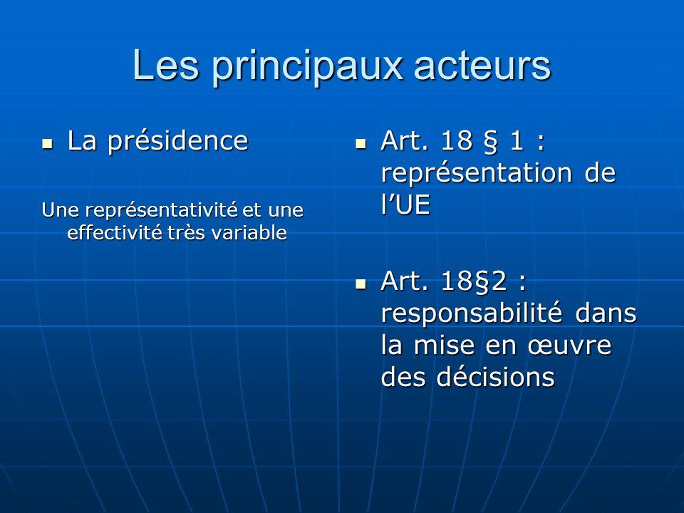 Les principaux acteurs La présidence La présidence Une représentativité et une effectivité très variable Art.