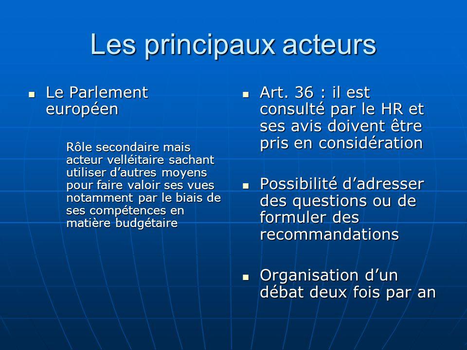 Les principaux acteurs Le Parlement européen Le Parlement européen Rôle secondaire mais acteur velléitaire sachant utiliser dautres moyens pour faire valoir ses vues notamment par le biais de ses compétences en matière budgétaire Art.
