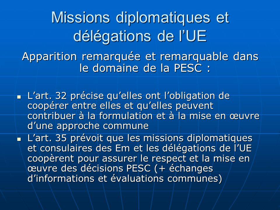 Missions diplomatiques et délégations de lUE Apparition remarquée et remarquable dans le domaine de la PESC : Lart.