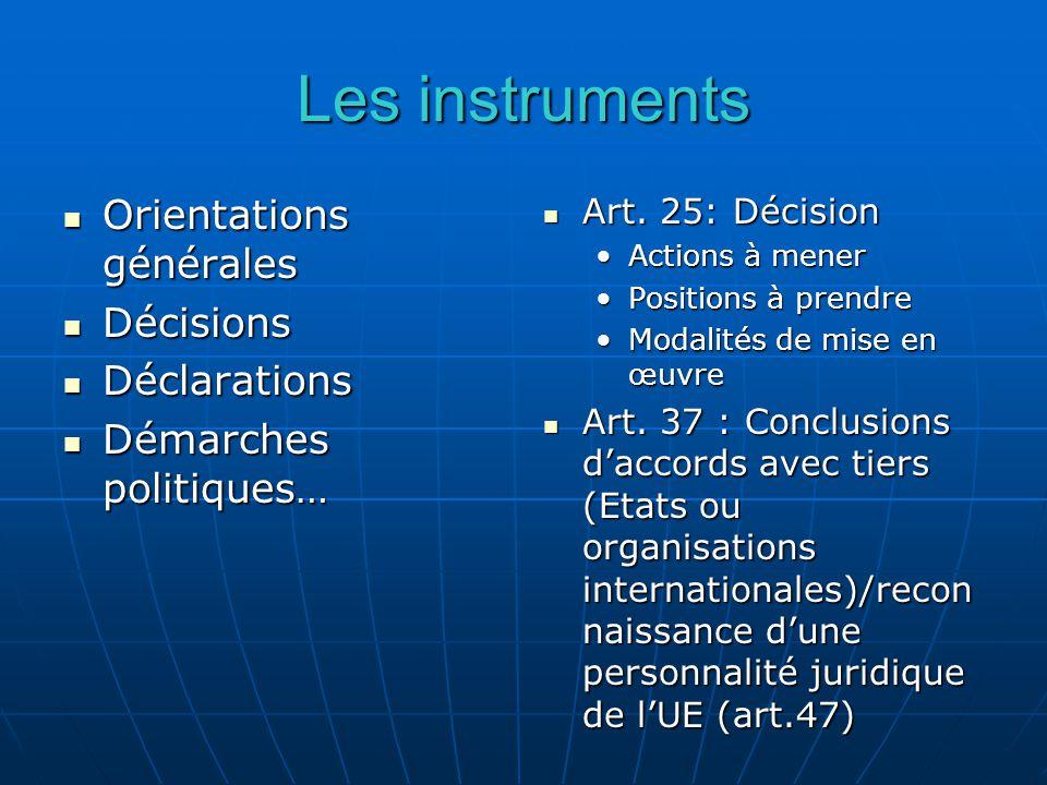 Les instruments Orientations générales Orientations générales Décisions Décisions Déclarations Déclarations Démarches politiques… Démarches politiques… Art.