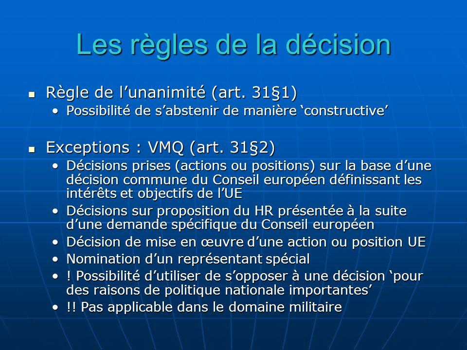 Les règles de la décision Règle de lunanimité (art.