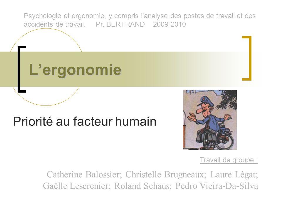 Lergonomie Priorité au facteur humain Travail de groupe : Catherine Balossier; Christelle Brugneaux; Laure Légat; Gaëlle Lescrenier; Roland Schaus; Pe