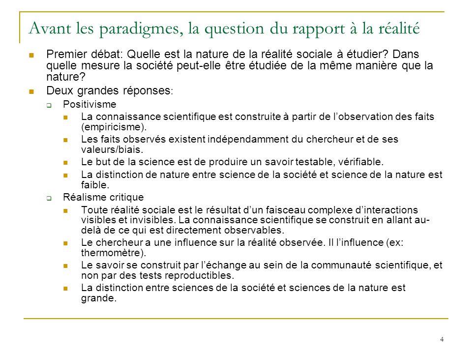 4 Avant les paradigmes, la question du rapport à la réalité Premier débat: Quelle est la nature de la réalité sociale à étudier? Dans quelle mesure la