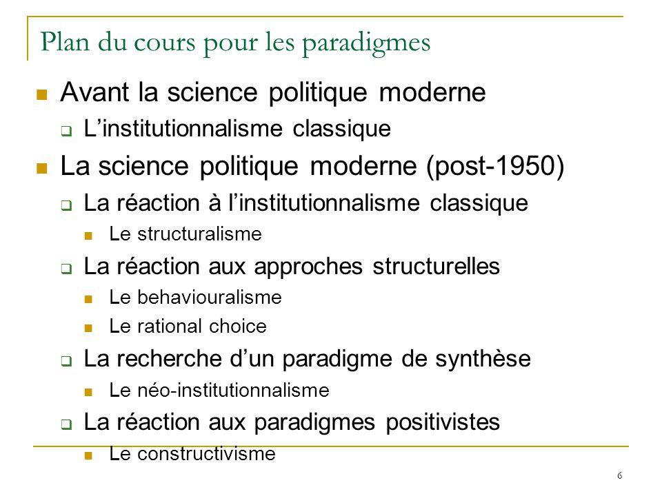 7 Le premier paradigme: linstitutionnalisme classique (old institutionnalism) La science politique est létude des institutions (= droit) et de leur fonctionnement (droit).