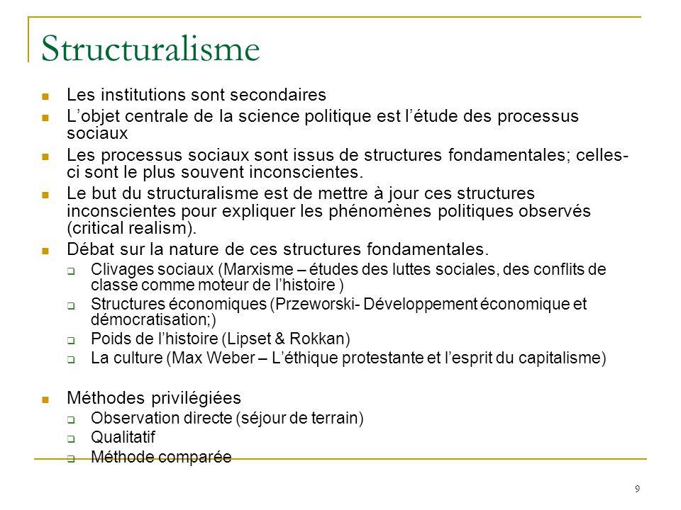 9 Structuralisme Les institutions sont secondaires Lobjet centrale de la science politique est létude des processus sociaux Les processus sociaux sont