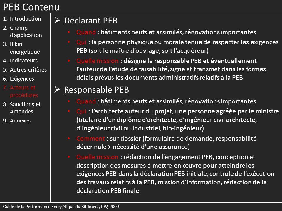 PEB Contenu 1.Introduction 2.Champ dapplication 3.Bilan énergétique 4.Indicateurs 5.Autres critères 6.Exigences 7.Acteurs et procédures 8.Sanctions et