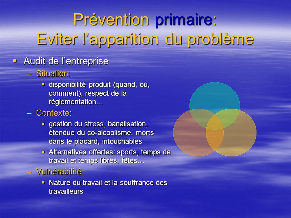Prévention primaire: Eviter lapparition du problème Audit de lentreprise Audit de lentreprise –Situation: disponibilité produit (quand, où, comment),