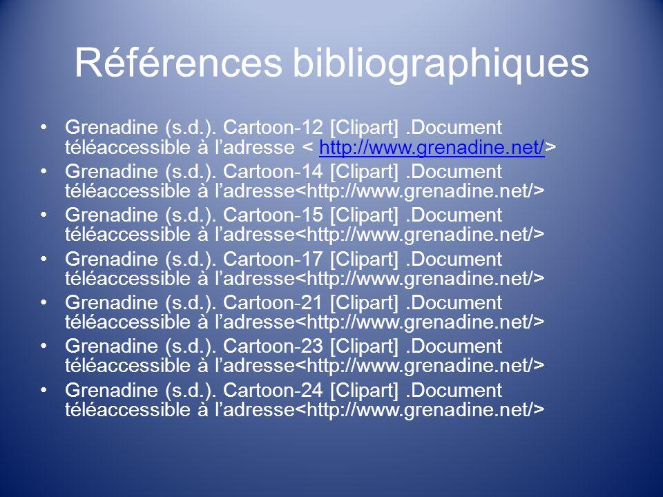 Références bibliographiques Grenadine (s.d.).