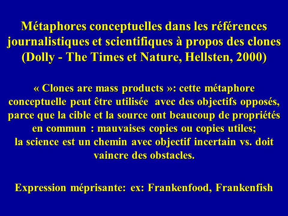 Métaphores conceptuelles dans les références journalistiques et scientifiques à propos des clones (Dolly - The Times et Nature, Hellsten, 2000) « Clon