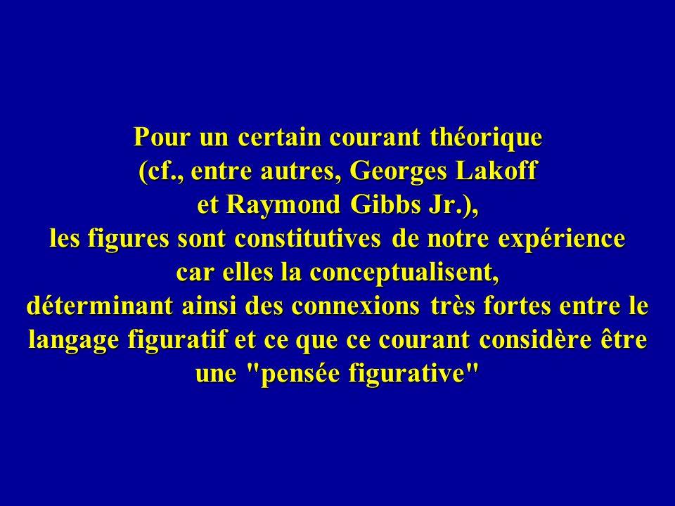 Pour un certain courant théorique (cf., entre autres, Georges Lakoff et Raymond Gibbs Jr.), les figures sont constitutives de notre expérience car ell