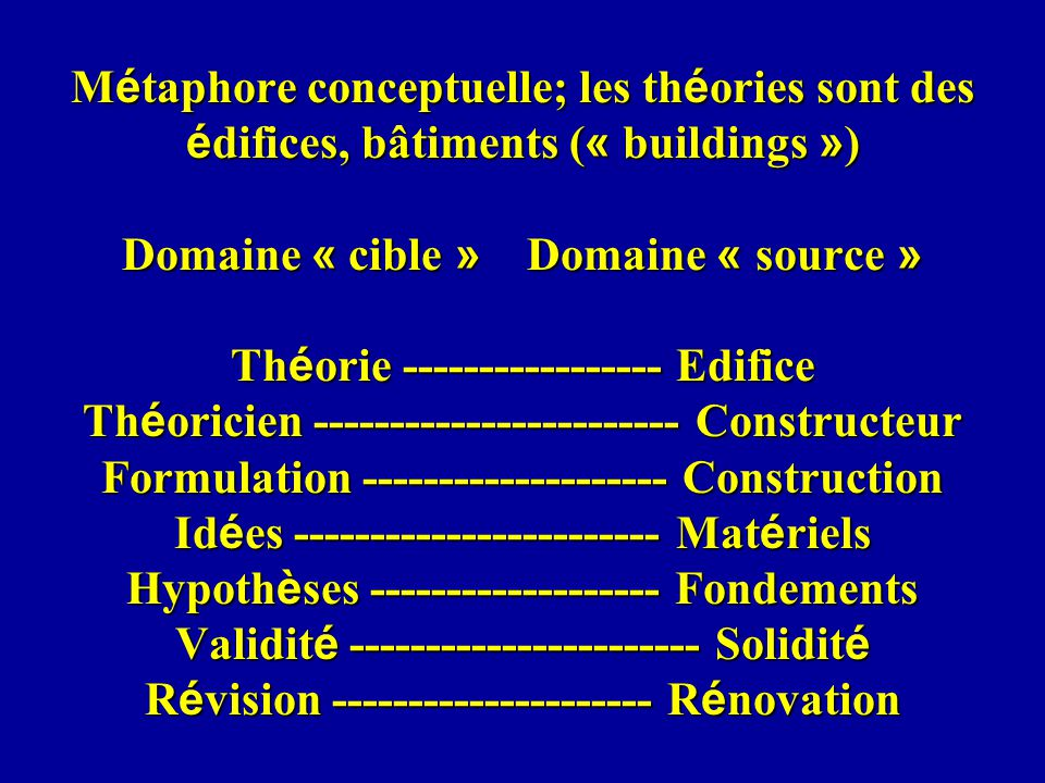 M é taphore conceptuelle; les th é ories sont des é difices, bâtiments ( « buildings » ) Domaine « cible » Domaine « source » Th é orie --------------