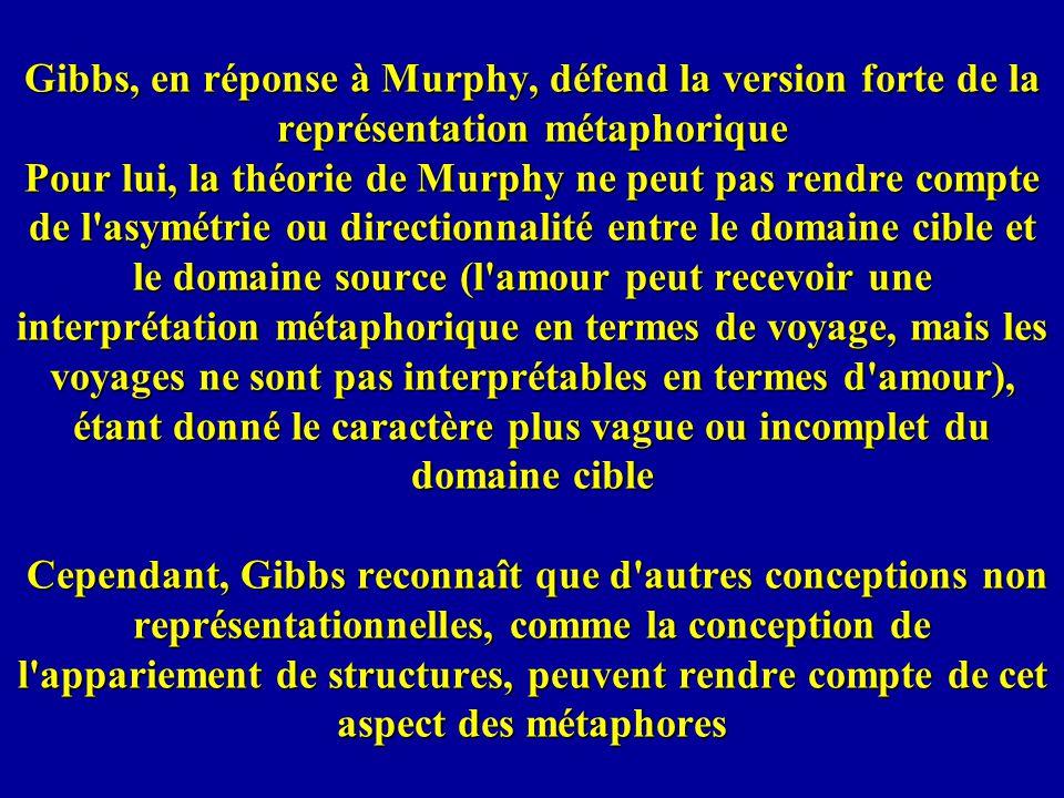 Gibbs, en réponse à Murphy, défend la version forte de la représentation métaphorique Pour lui, la théorie de Murphy ne peut pas rendre compte de l'as