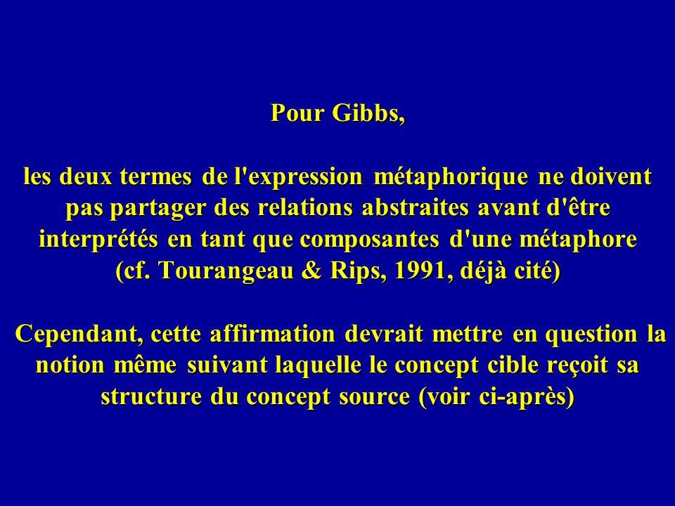 Pour Gibbs, les deux termes de l'expression métaphorique ne doivent pas partager des relations abstraites avant d'être interprétés en tant que composa