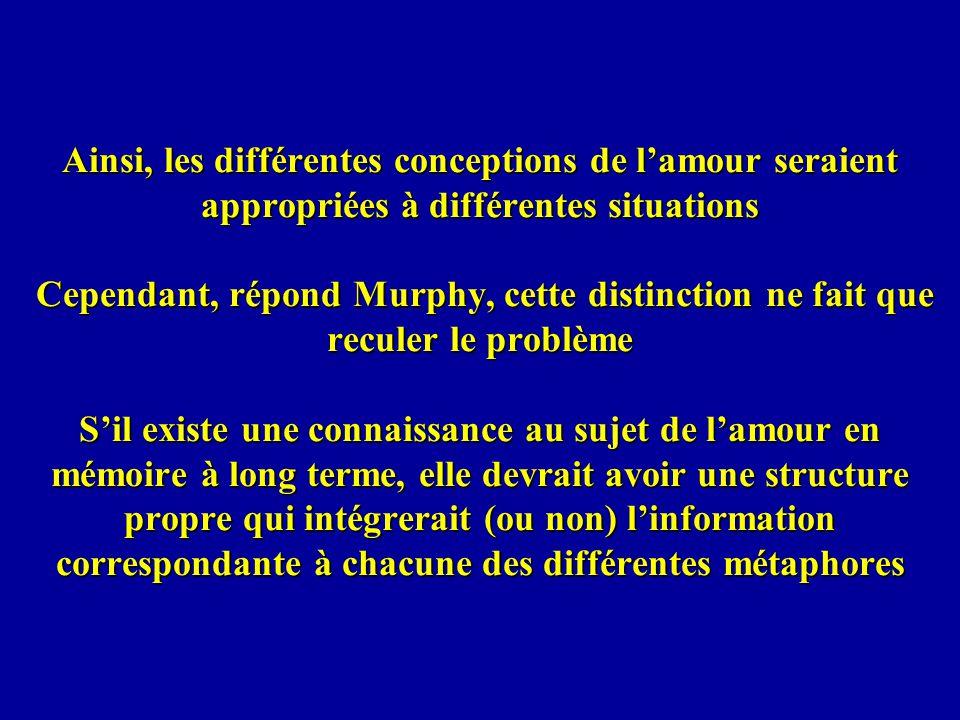 Ainsi, les différentes conceptions de lamour seraient appropriées à différentes situations Cependant, répond Murphy, cette distinction ne fait que rec