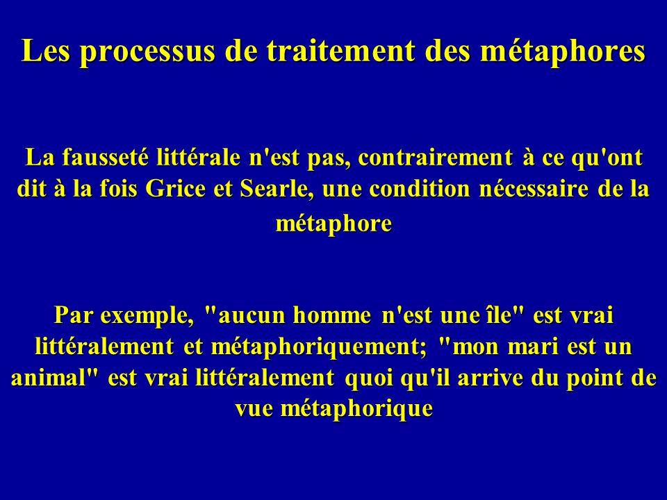 Les processus de traitement des métaphores La fausseté littérale n'est pas, contrairement à ce qu'ont dit à la fois Grice et Searle, une condition néc