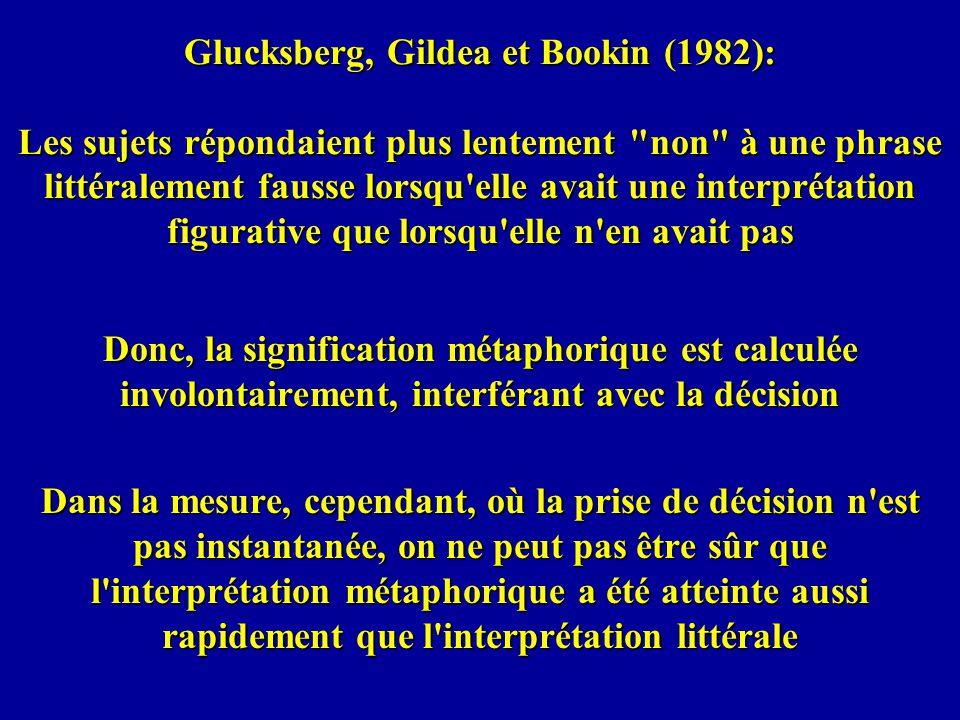 Glucksberg, Gildea et Bookin (1982): Les sujets répondaient plus lentement