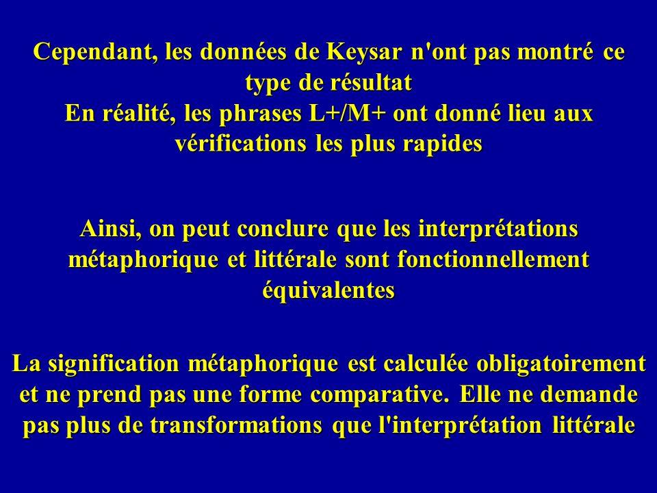 Cependant, les données de Keysar n'ont pas montré ce type de résultat En réalité, les phrases L+/M+ ont donné lieu aux vérifications les plus rapides
