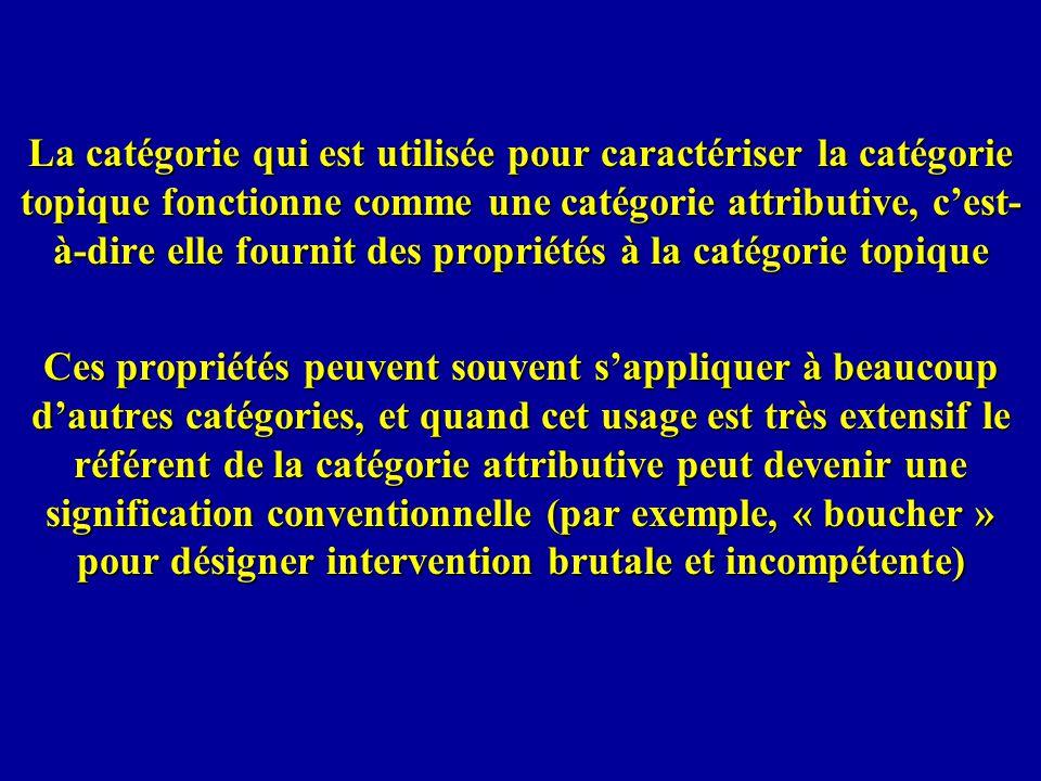 La catégorie qui est utilisée pour caractériser la catégorie topique fonctionne comme une catégorie attributive, cest- à-dire elle fournit des proprié