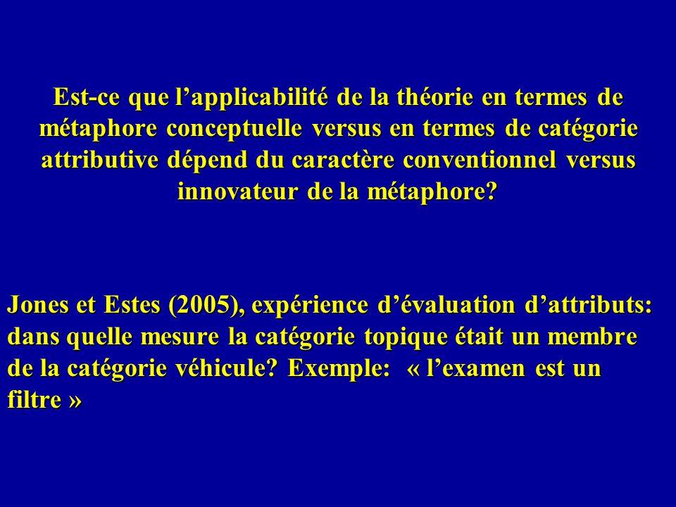 Est-ce que lapplicabilité de la théorie en termes de métaphore conceptuelle versus en termes de catégorie attributive dépend du caractère conventionne