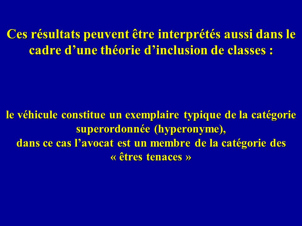 Ces résultats peuvent être interprétés aussi dans le cadre dune théorie dinclusion de classes : le véhicule constitue un exemplaire typique de la caté