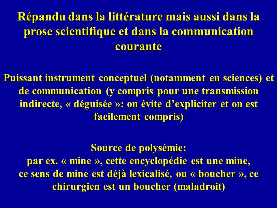 Répandu dans la littérature mais aussi dans la prose scientifique et dans la communication courante Puissant instrument conceptuel (notamment en scien