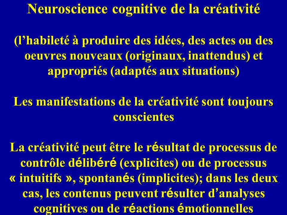 Neuroscience cognitive de la créativité (lhabileté à produire des idées, des actes ou des oeuvres nouveaux (originaux, inattendus) et appropriés (adap