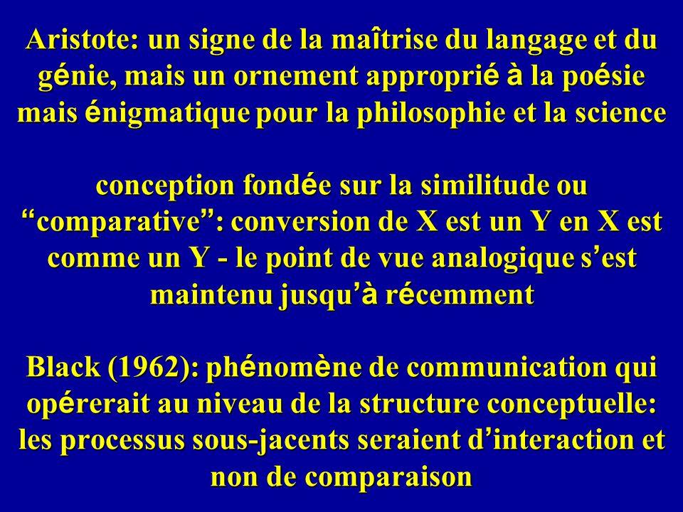 Aristote: un signe de la ma î trise du langage et du g é nie, mais un ornement appropri é à la po é sie mais é nigmatique pour la philosophie et la sc