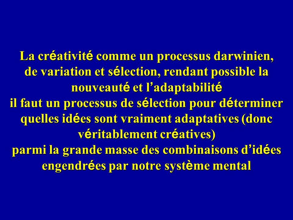 La cr é ativit é comme un processus darwinien, de variation et s é lection, rendant possible la nouveaut é et l adaptabilit é il faut un processus de