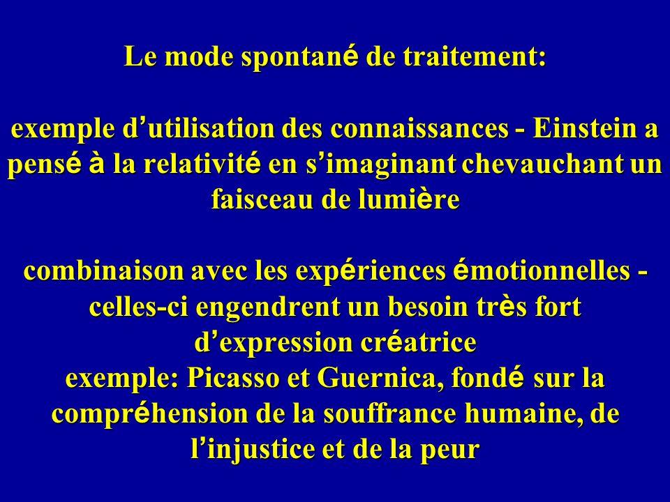 Le mode spontan é de traitement: exemple d utilisation des connaissances - Einstein a pens é à la relativit é en s imaginant chevauchant un faisceau d