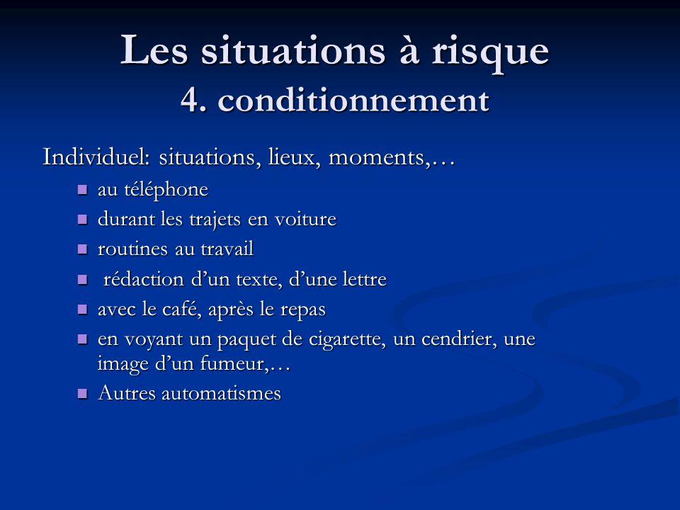 Les situations à risque 4. conditionnement Individuel: situations, lieux, moments,… au téléphone au téléphone durant les trajets en voiture durant les