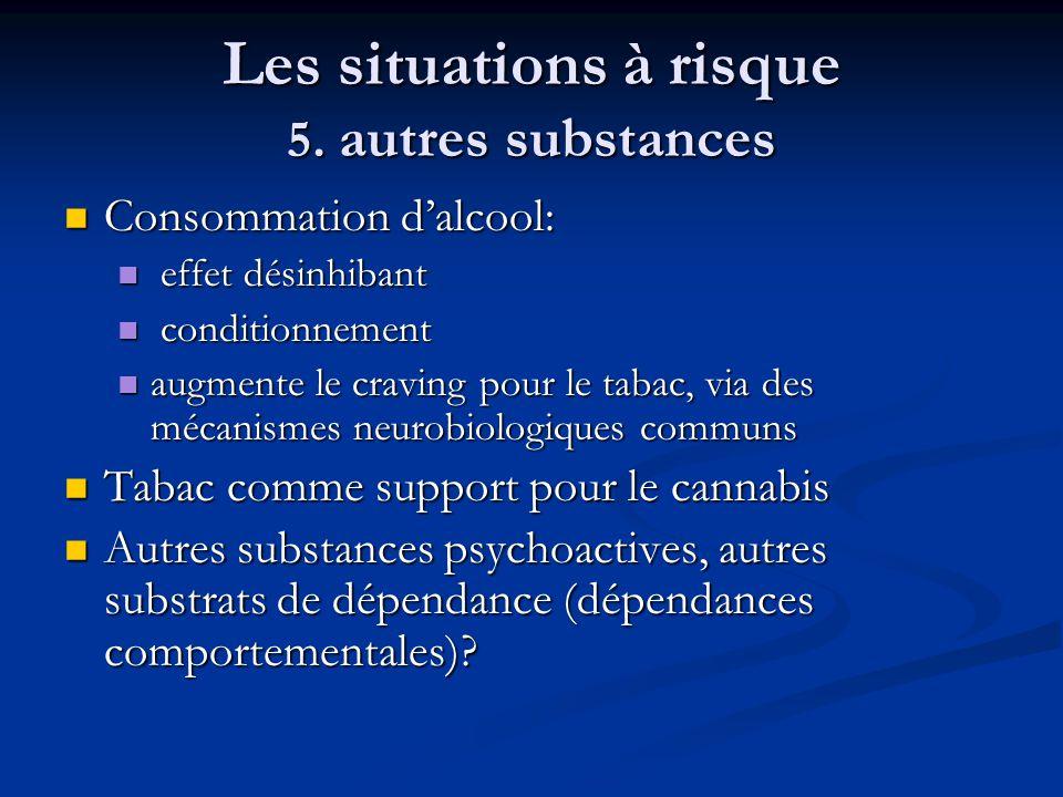 Les situations à risque 5. autres substances Consommation dalcool: Consommation dalcool: effet désinhibant effet désinhibant conditionnement condition