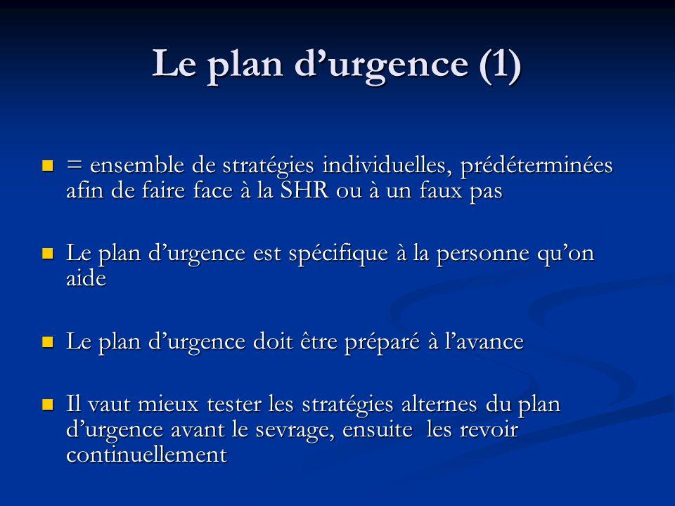 Le plan durgence (1) = ensemble de stratégies individuelles, prédéterminées afin de faire face à la SHR ou à un faux pas = ensemble de stratégies indi