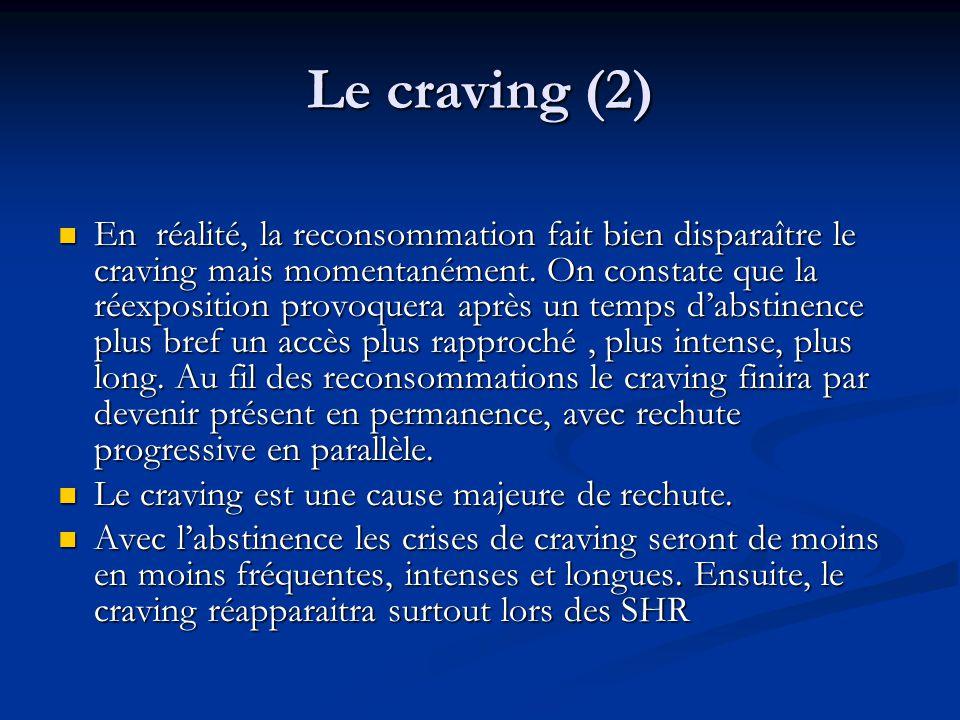 Le craving (2) En réalité, la reconsommation fait bien disparaître le craving mais momentanément. On constate que la réexposition provoquera après un