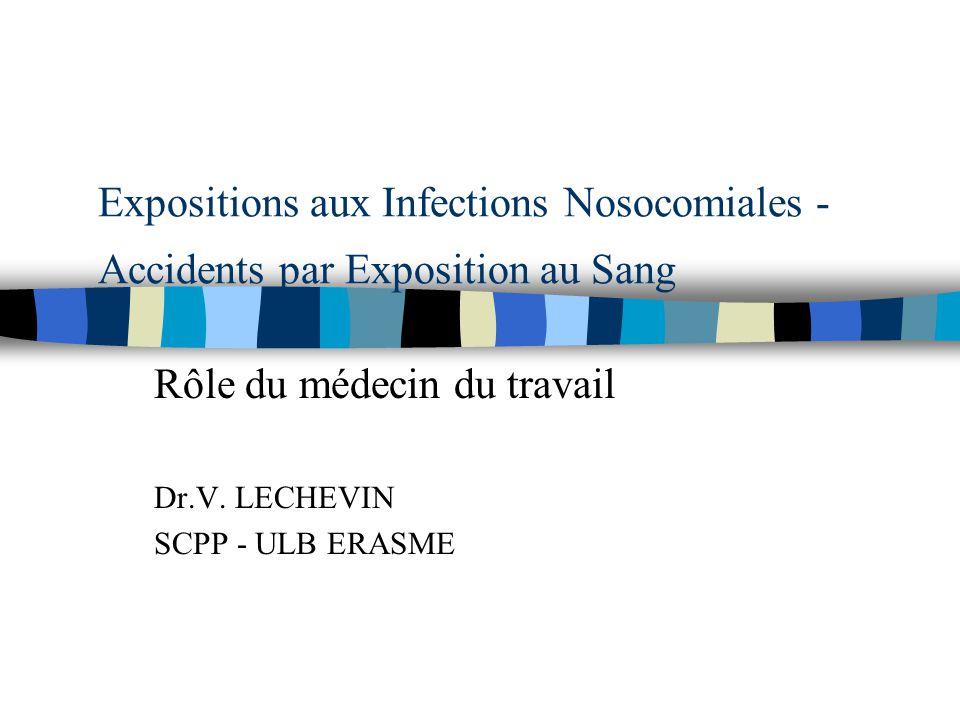 Expositions aux Infections Nosocomiales - Accidents par Exposition au Sang Rôle du médecin du travail Dr.V. LECHEVIN SCPP - ULB ERASME