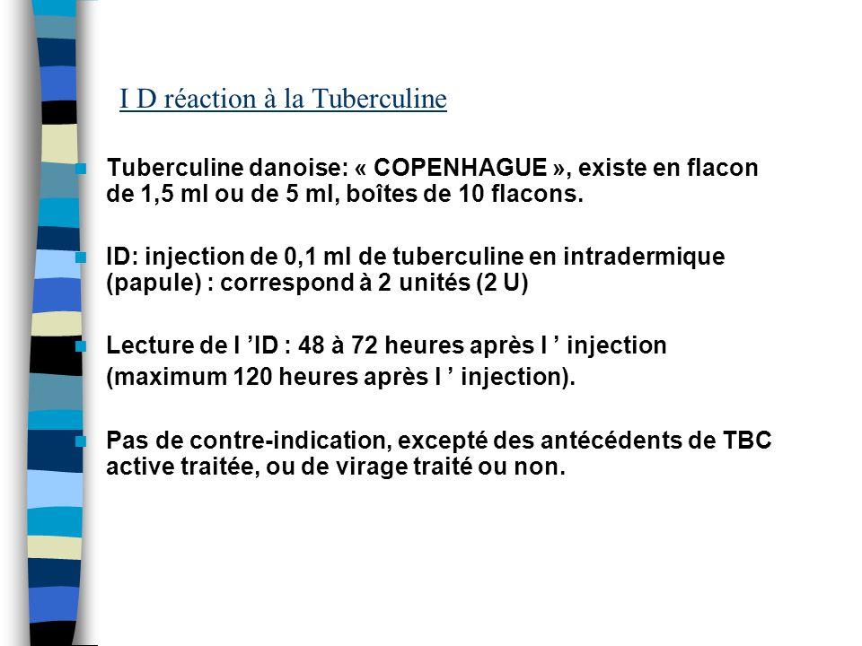 I D réaction à la Tuberculine Tuberculine danoise: « COPENHAGUE », existe en flacon de 1,5 ml ou de 5 ml, boîtes de 10 flacons. ID: injection de 0,1 m