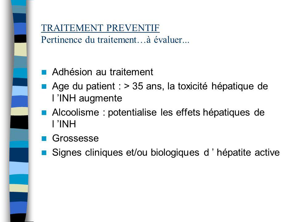 TRAITEMENT PREVENTIF Pertinence du traitement…à évaluer...