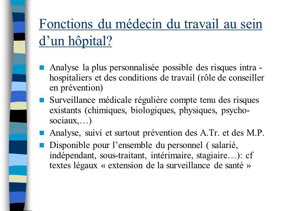 Fonctions du médecin du travail au sein dun hôpital? Analyse la plus personnalisée possible des risques intra - hospitaliers et des conditions de trav