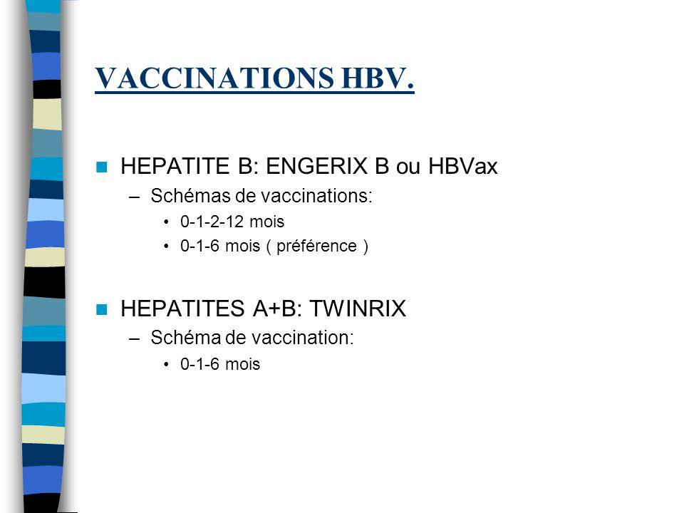 VACCINATIONS HBV. HEPATITE B: ENGERIX B ou HBVax –Schémas de vaccinations: 0-1-2-12 mois 0-1-6 mois ( préférence ) HEPATITES A+B: TWINRIX –Schéma de v