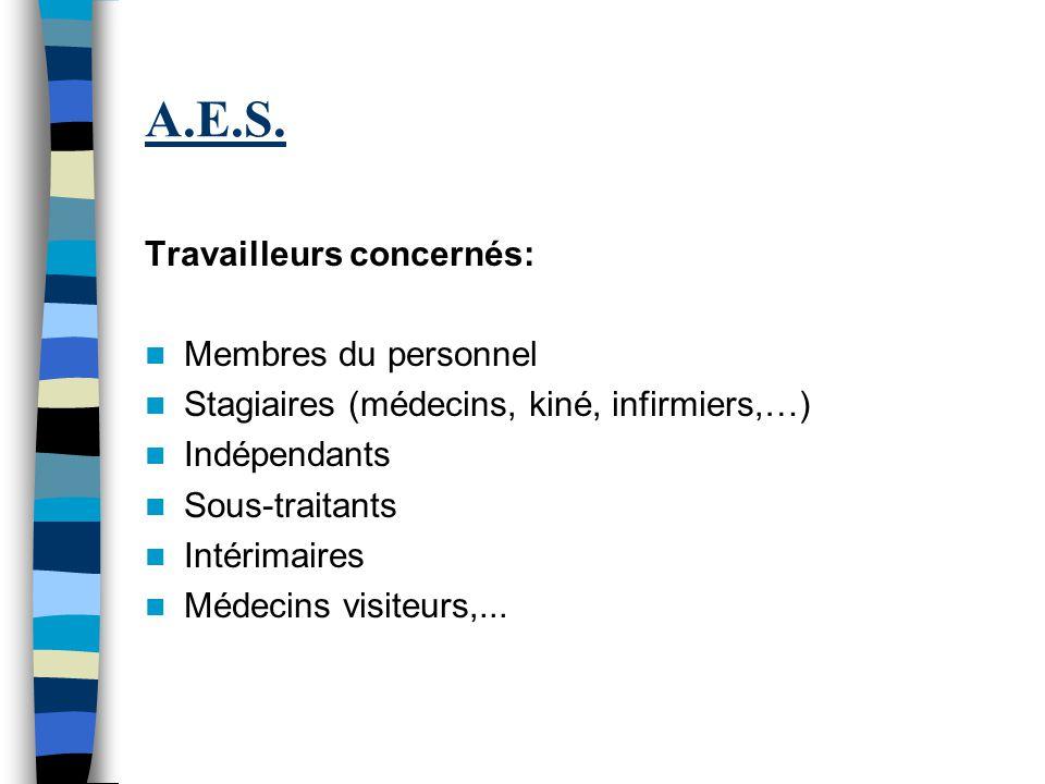 A.E.S. Travailleurs concernés: Membres du personnel Stagiaires (médecins, kiné, infirmiers,…) Indépendants Sous-traitants Intérimaires Médecins visite