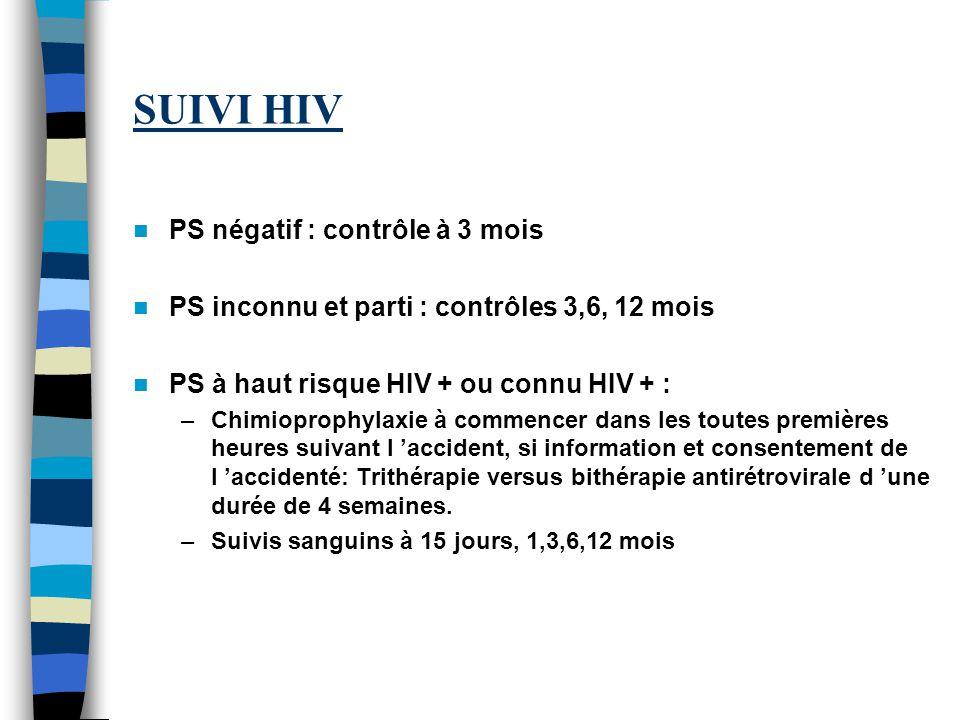 SUIVI HIV PS négatif : contrôle à 3 mois PS inconnu et parti : contrôles 3,6, 12 mois PS à haut risque HIV + ou connu HIV + : –Chimioprophylaxie à com