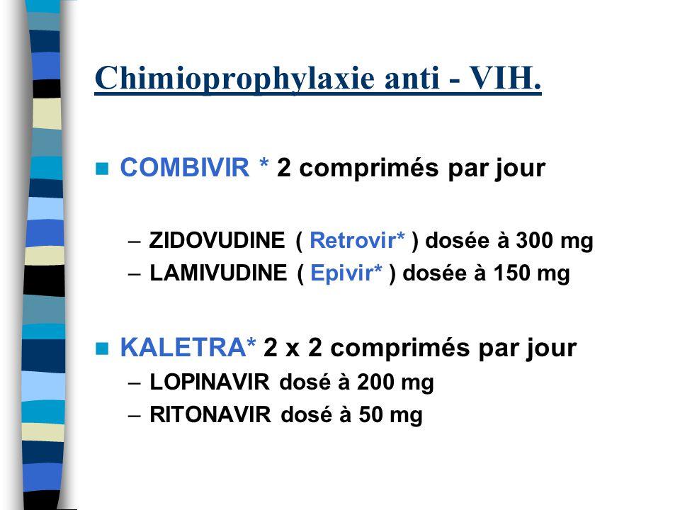 Chimioprophylaxie anti - VIH. COMBIVIR * 2 comprimés par jour –ZIDOVUDINE ( Retrovir* ) dosée à 300 mg –LAMIVUDINE ( Epivir* ) dosée à 150 mg KALETRA*