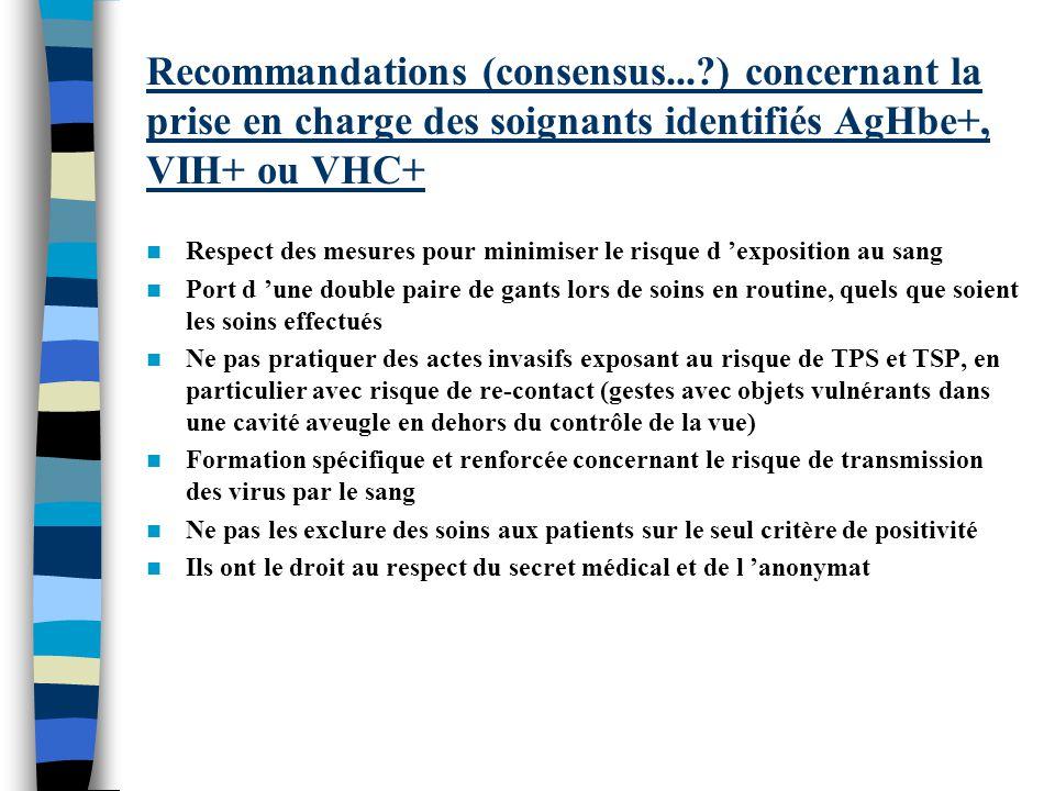 Recommandations (consensus...?) concernant la prise en charge des soignants identifiés AgHbe+, VIH+ ou VHC+ Respect des mesures pour minimiser le risq