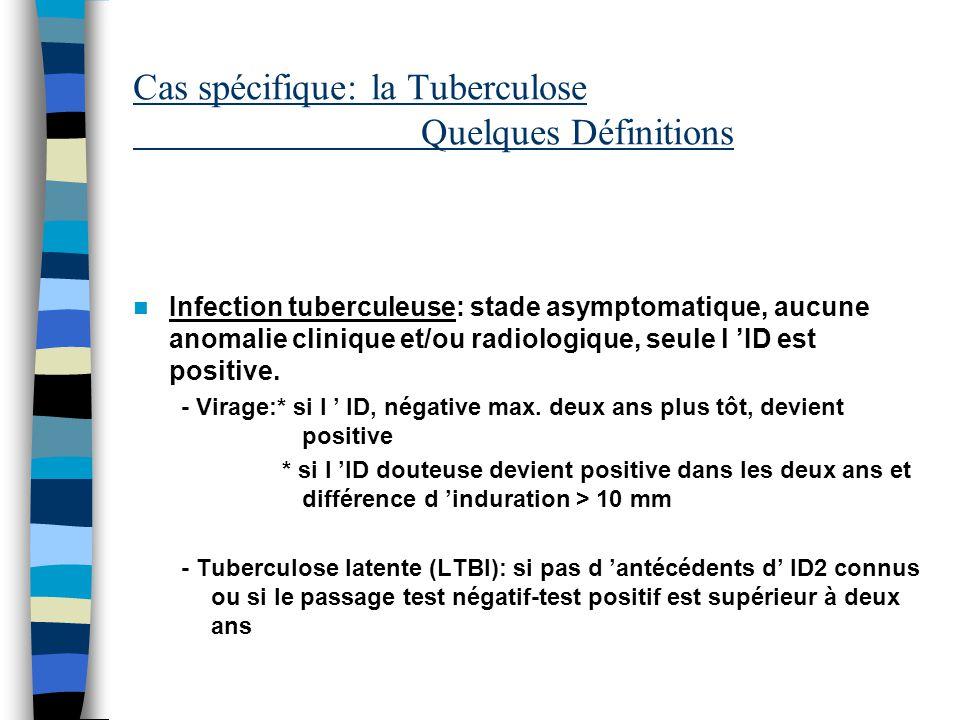 Cas spécifique: la Tuberculose Quelques Définitions Infection tuberculeuse: stade asymptomatique, aucune anomalie clinique et/ou radiologique, seule l ID est positive.