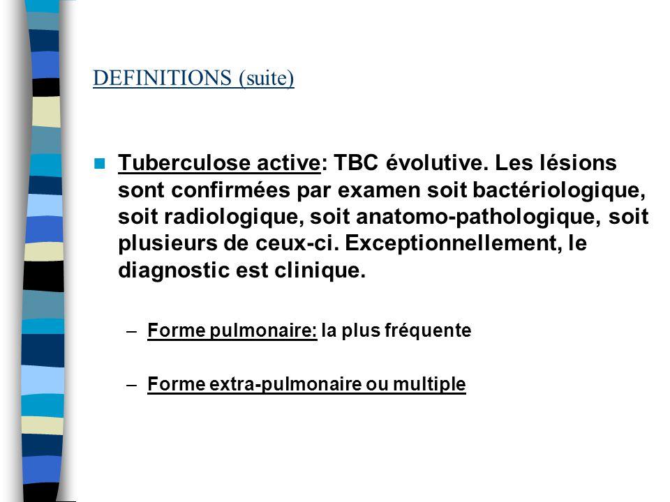 DEFINITIONS (suite) Tuberculose active: TBC évolutive. Les lésions sont confirmées par examen soit bactériologique, soit radiologique, soit anatomo-pa