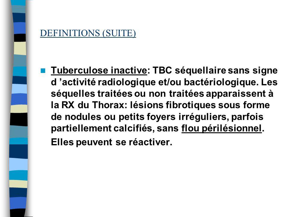 DEFINITIONS (SUITE) Tuberculose inactive: TBC séquellaire sans signe d activité radiologique et/ou bactériologique. Les séquelles traitées ou non trai