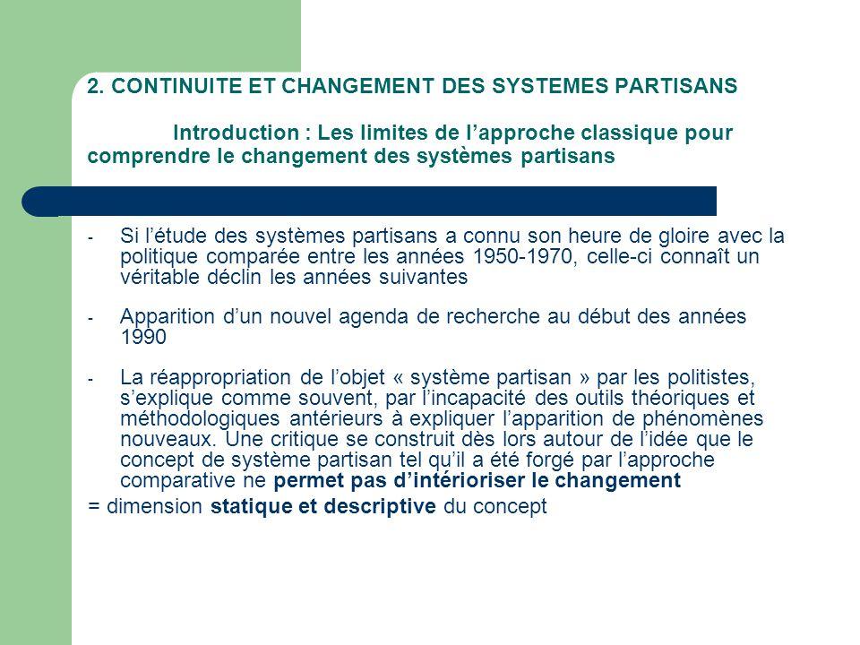2. CONTINUITE ET CHANGEMENT DES SYSTEMES PARTISANS Introduction : Les limites de lapproche classique pour comprendre le changement des systèmes partis