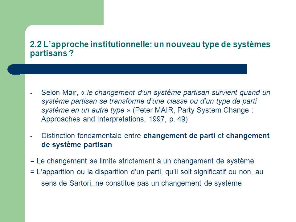 2.2 Lapproche institutionnelle: un nouveau type de systèmes partisans ? - Selon Mair, « le changement dun système partisan survient quand un système p