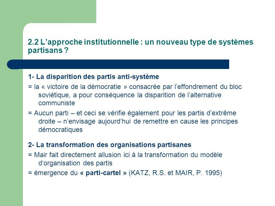 2.2 Lapproche institutionnelle : un nouveau type de systèmes partisans ? 1- La disparition des partis anti-système = la « victoire de la démocratie »