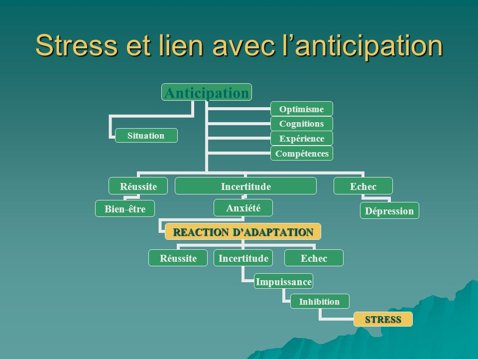 Stress et lien avec lanticipation Anticipation Réussite Bien-être Incertitude Anxiété REACTION DADAPTATION RéussiteIncertitude Impuissance Inhibition