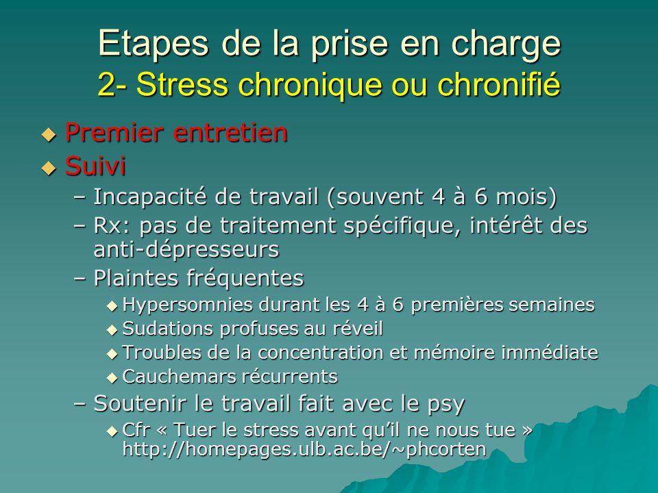 Etapes de la prise en charge 2- Stress chronique ou chronifié Premier entretien Premier entretien Suivi Suivi –Incapacité de travail (souvent 4 à 6 mo